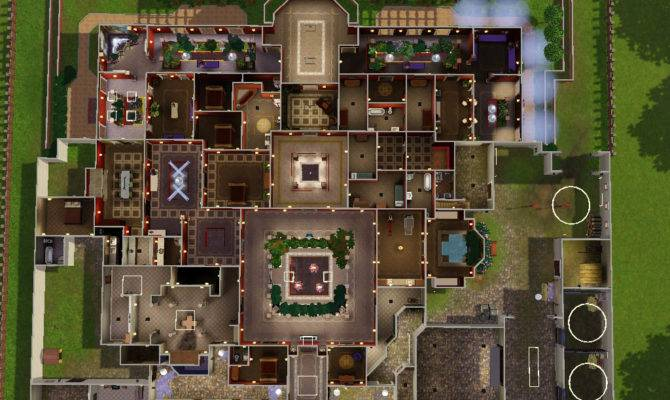 Sims House Plans Mansion Open Courtyards
