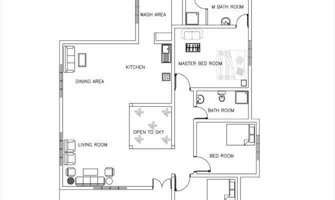 Single Story Three Bed Room House Plan Dwgnet