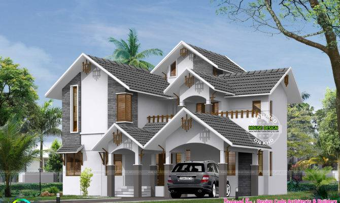 Sloped Roof Square Feet Bedroom Home Kerala