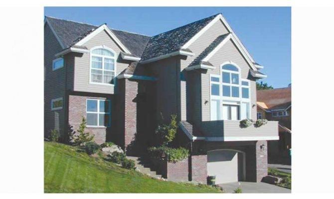 Sloping Lot House Trimmed Garage Plan Sloped Plans