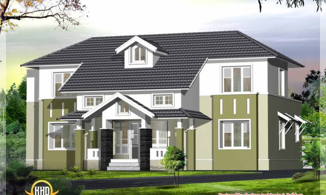 Sloping Roof House Elevation Kerala Home