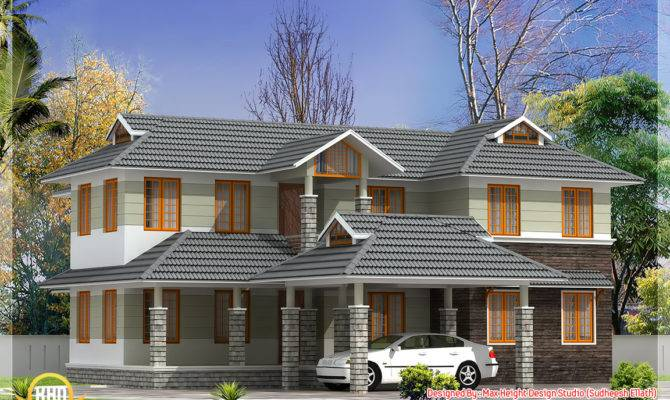 Sloping Roof Indian House Elevation Kerala