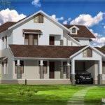 Sloping Roof Villa Exterior Elevation Kerala Home Design Floor
