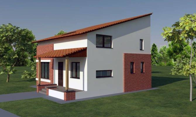 Small Attic Style Brick House Design