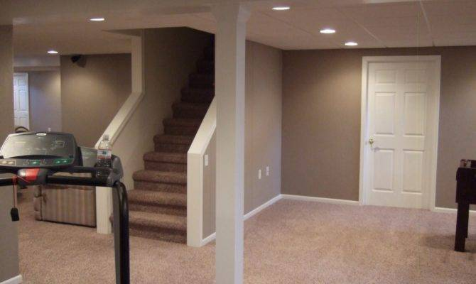 Small Finished Basement Ideas Grey Bright Painted Walls