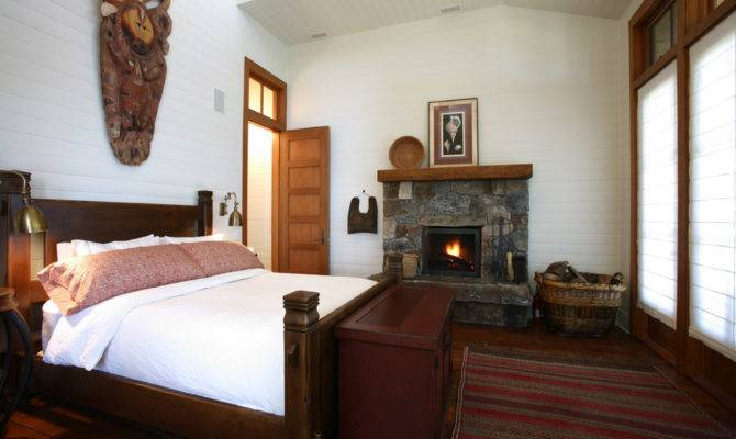 Small Gas Fireplace Bedroom Rustic Area Rug Cabin