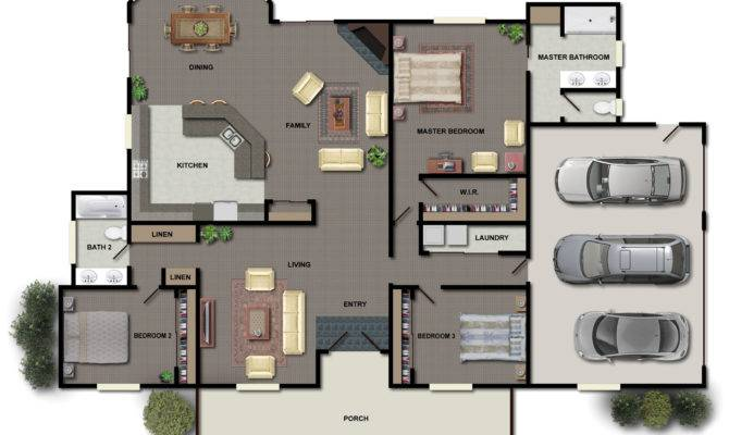 Small House Plans Bedrooms One Story Home