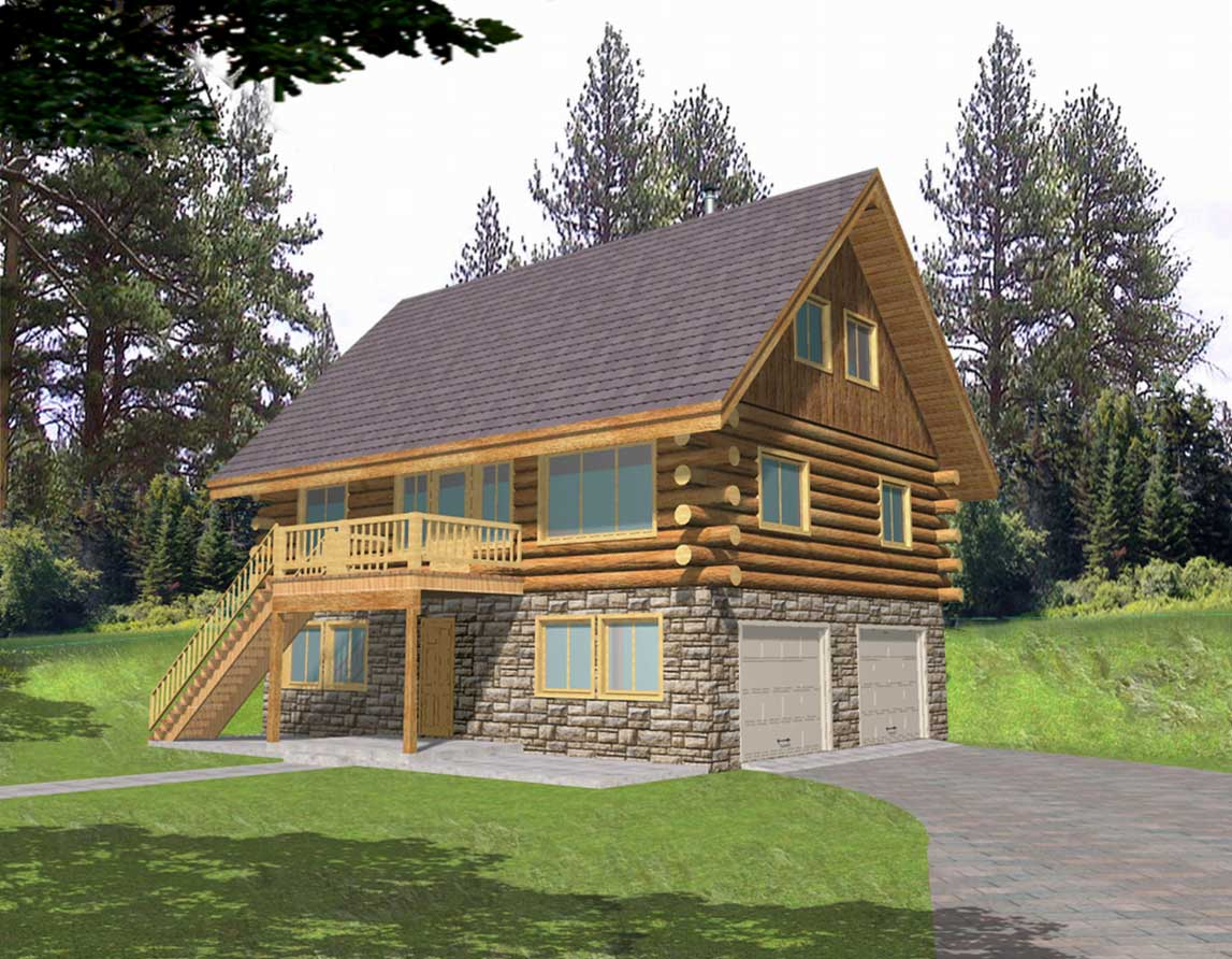 Small Log Home Designs Wooden Stone Wall Ideas