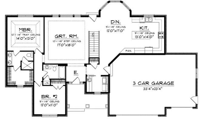 Smart Placement One Story House Plans Large Kitchens