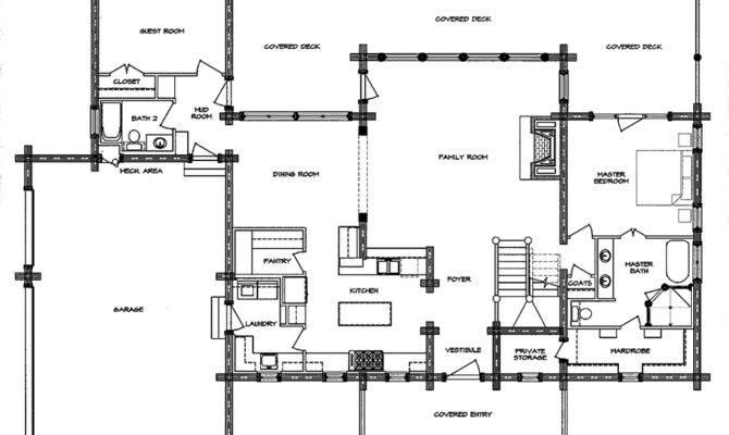 South Fork Log Home Floor Plan Main