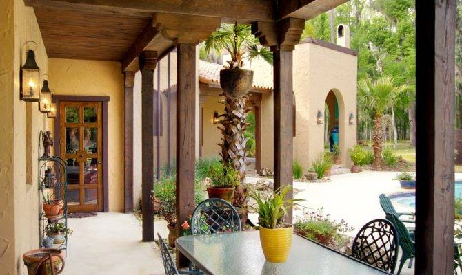 Spanish Style Porch Eclectic Colonial Patterned