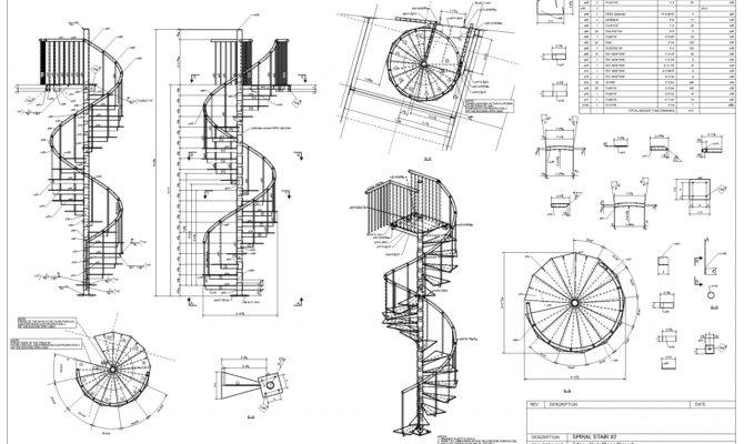 Spiral Staircase Detail Drawing Advanced Detailing Corp