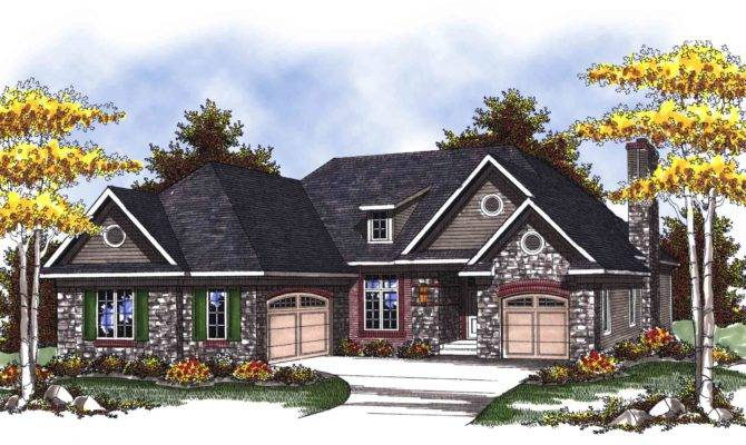 Split Garage Ranch Home Plan Architectural