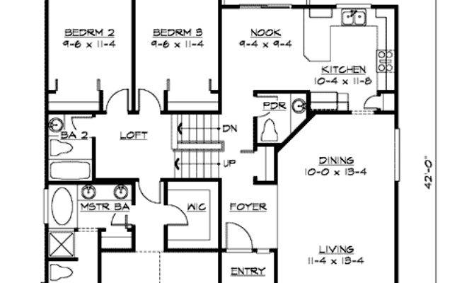 Split Level Home Plan Narrow Lot Floor