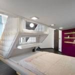 Split Level Plush Futuristic Retro Bedroom White Red Feature