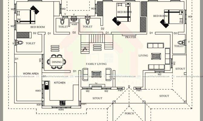 Square Feet Kerala Style House Plan Three