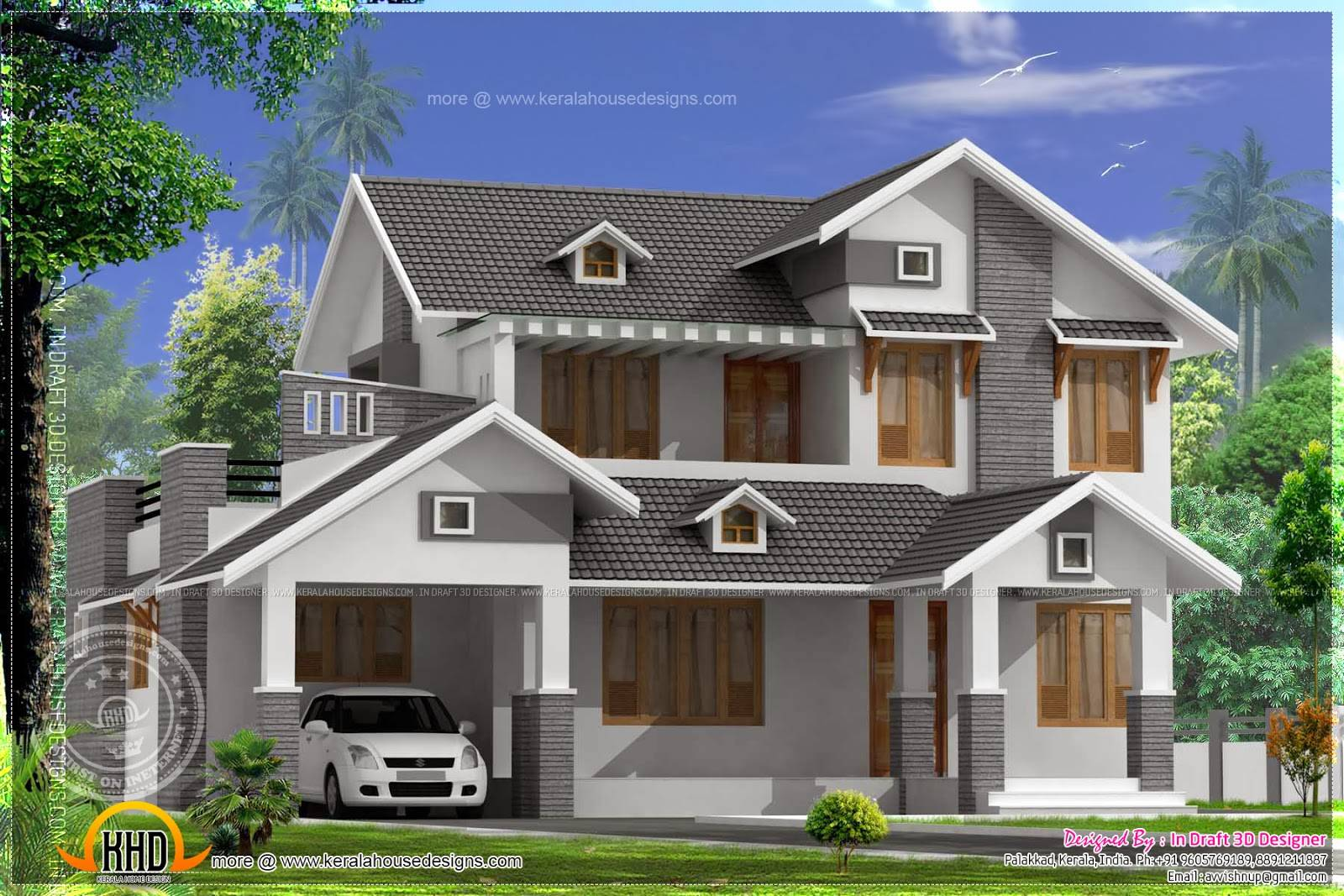 Square Feet Sloping Roof Home Indian House Plans