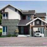 Square Feet Sloping Roof House Elevation Indian Plans
