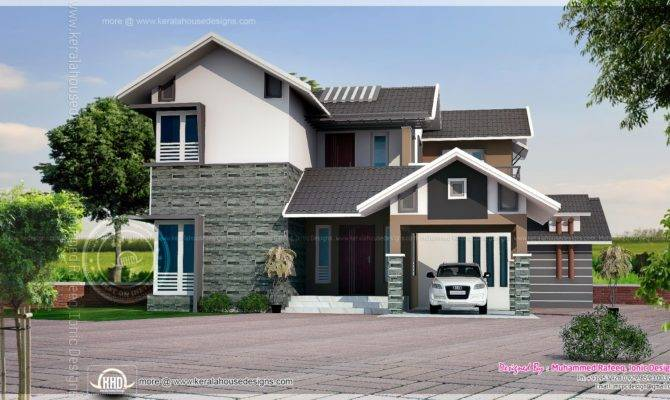 Square Feet Sloping Roof House Elevation Kerala Home