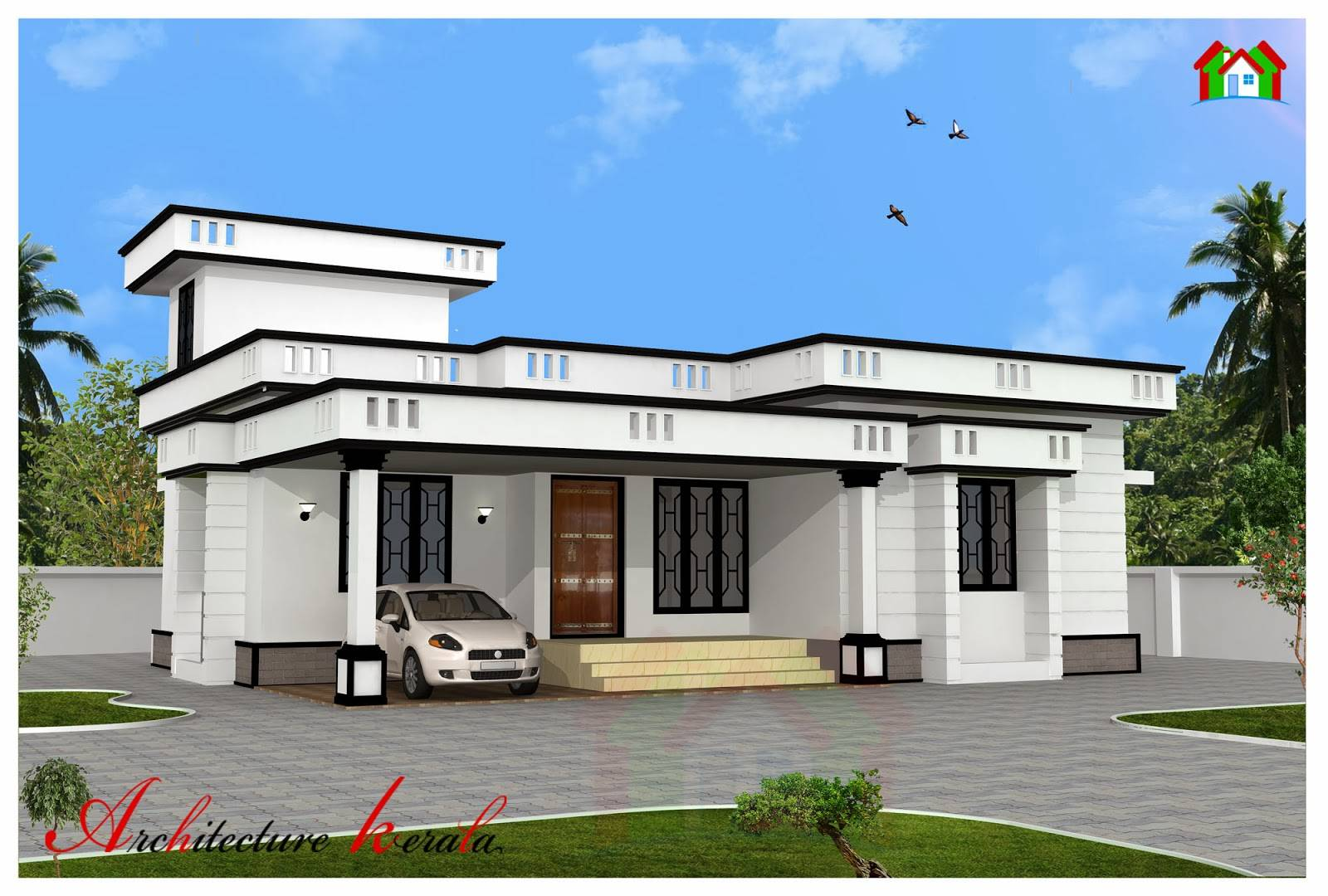 Square Feet Two Bedroom House Plan Elevation Architecture