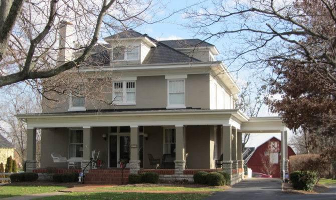 Square Gray House Porte Cochere Maple Ave