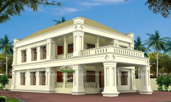 Square Pillar Type Colonial Mix Home Kerala Design