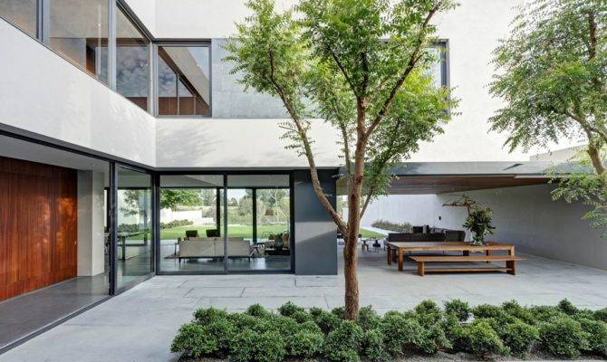Steel Concrete Stone Home Central Courtyard