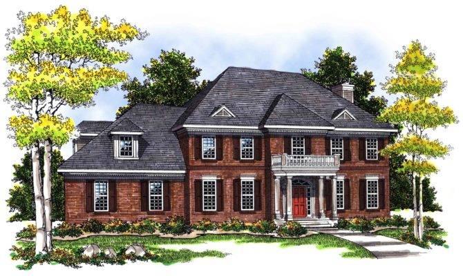 Story Brick Home Plan Floor Master Suite