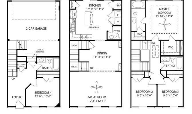 Story Townhouse Floor Plans Car