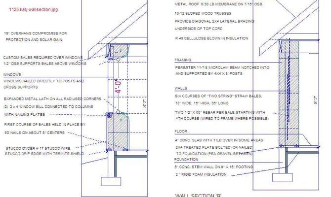 Straw House Drawing Bale Plans