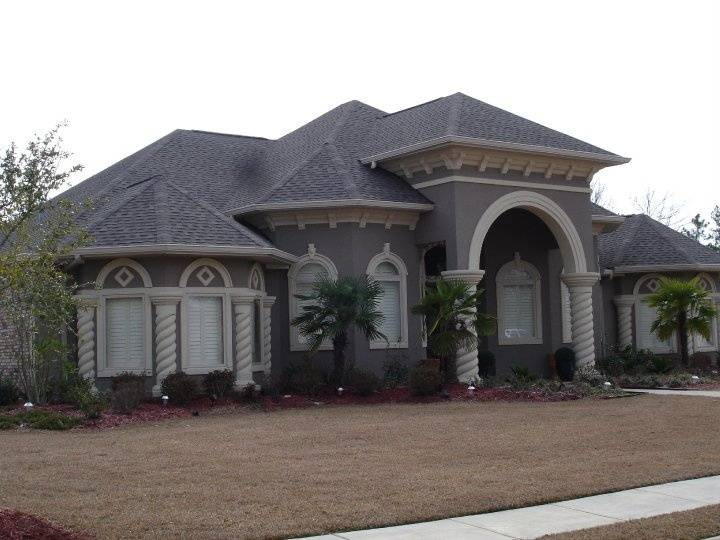 Stucco Home Spiral Columns