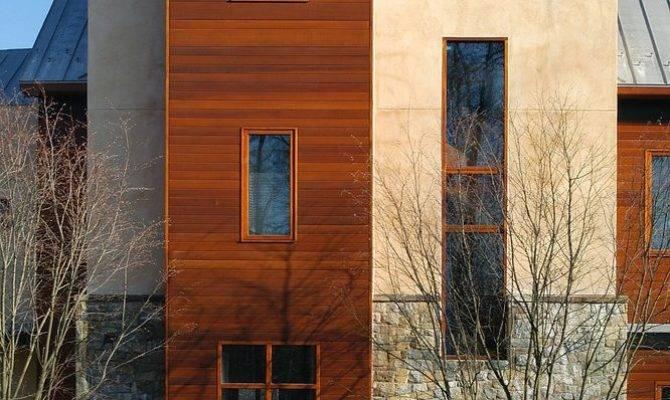 Stucco Wood Storage Exterior Modern Cedar Siding