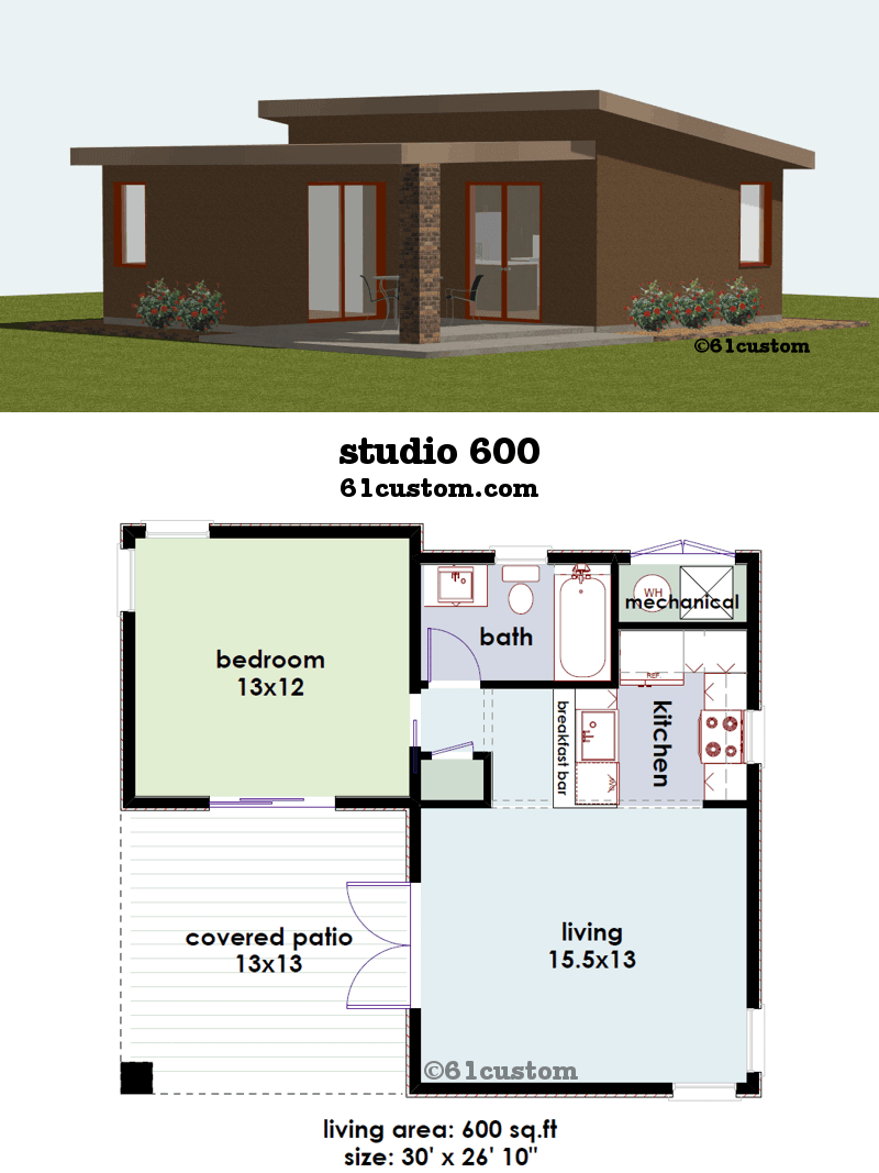 Studio Small House Plan Custom Contemporary