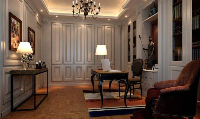 Study Neoclassical Interior Lighting Design