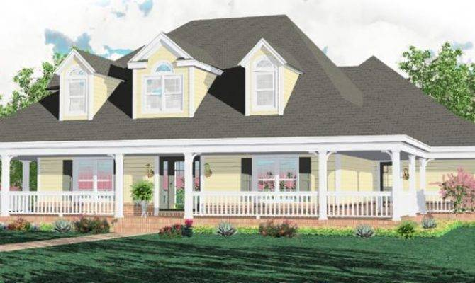 Style Homes Wrap Around Porch Country Interior House