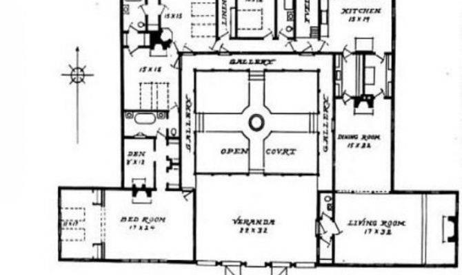 Style House Plans Courtyard Mexican Hacienda
