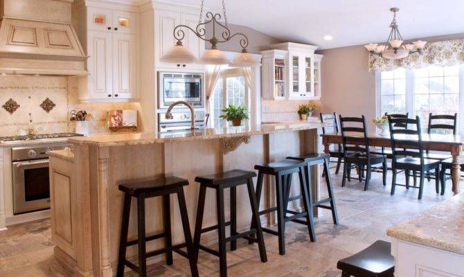 Style Open Layout Kitchen Dining Area Country