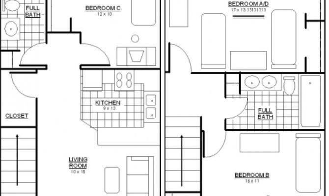 Stylish Bedroom Bungalow Floor Plans Garage