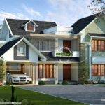 Stylish Sloping Roof Villa Kerala Home