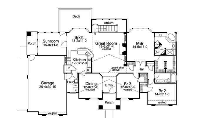Tampa Bay Atrium Ranch Home Plan House Plans More