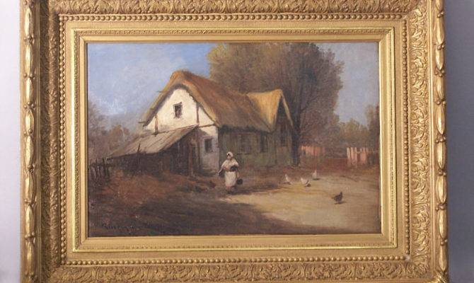 Thc French Country Cottage Scene Woman Chickens