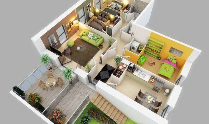 Three Bedroom House Apartment Floor Plans Amazing