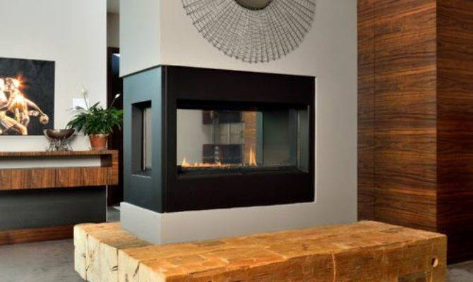 Three Way Fireplace Home Design Ideas Remodel