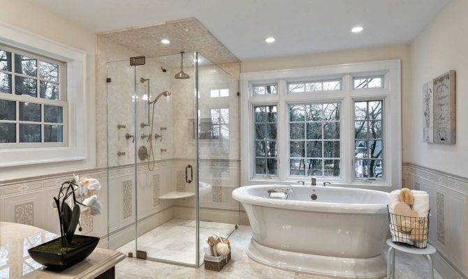 Traditional Master Bathroom Frameless Showerdoor