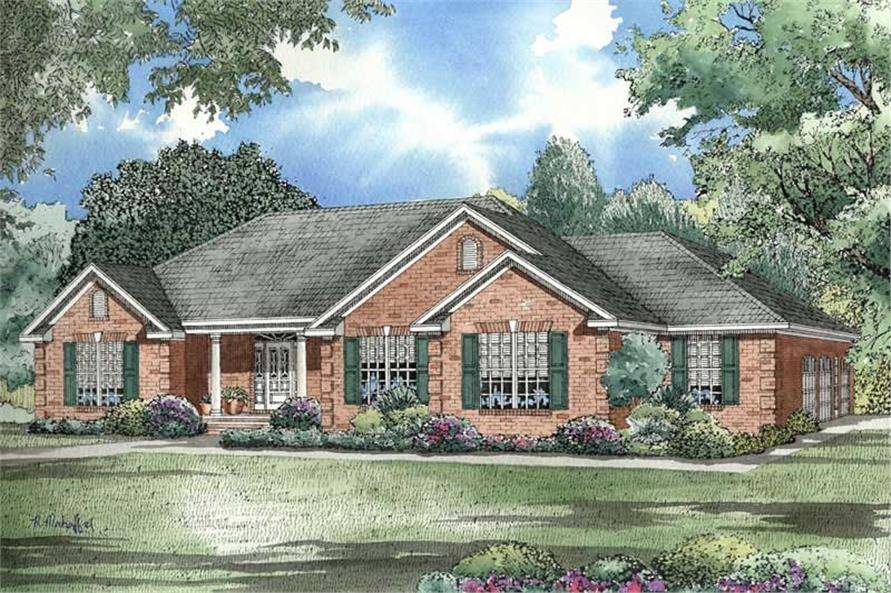 Traditional Ranch House Plan Three Bedrooms