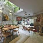 Trees Shrubs Create Faux Courtyard Inside House