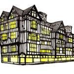 Tudor Houses Ink Watercolour