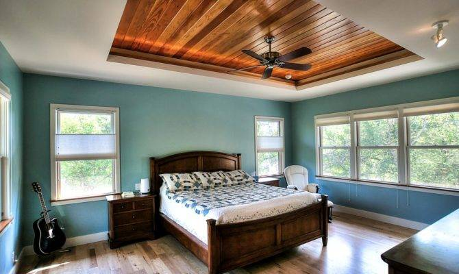 Turquoise Bedroom Features Warm Wood Tray Ceiling House