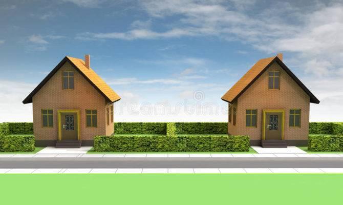 Two Houses Neighborhood Blue Sky