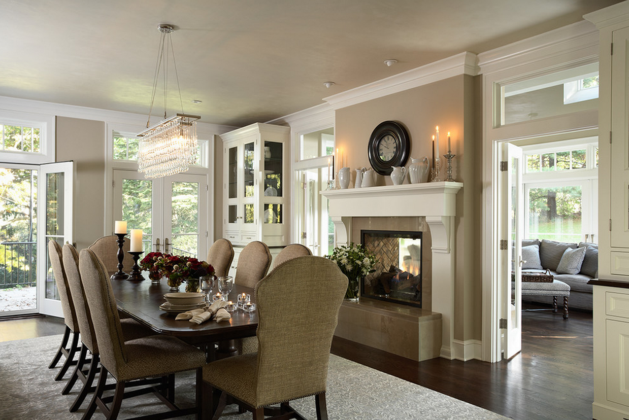 Two Sided Fireplace Into Porch Traditional Dining Room Minneapolis